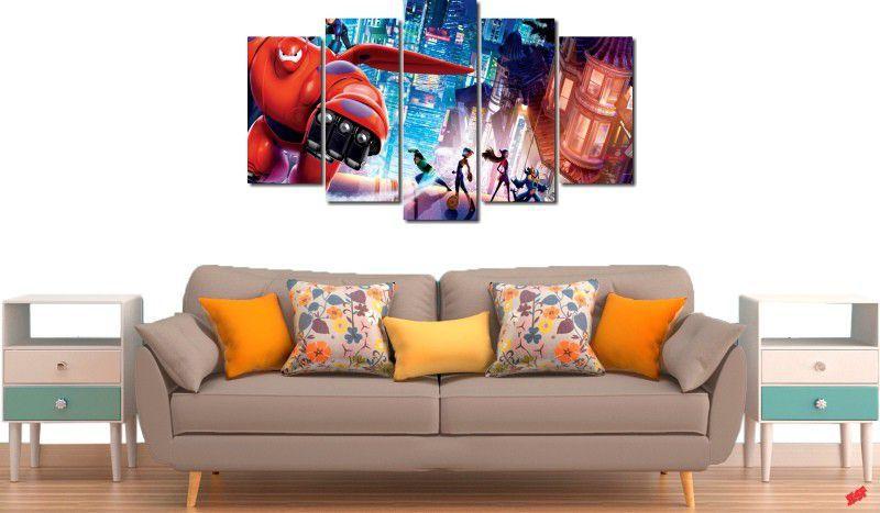 quadros decorativos filme operação big hero para quartos e salas 5 peças