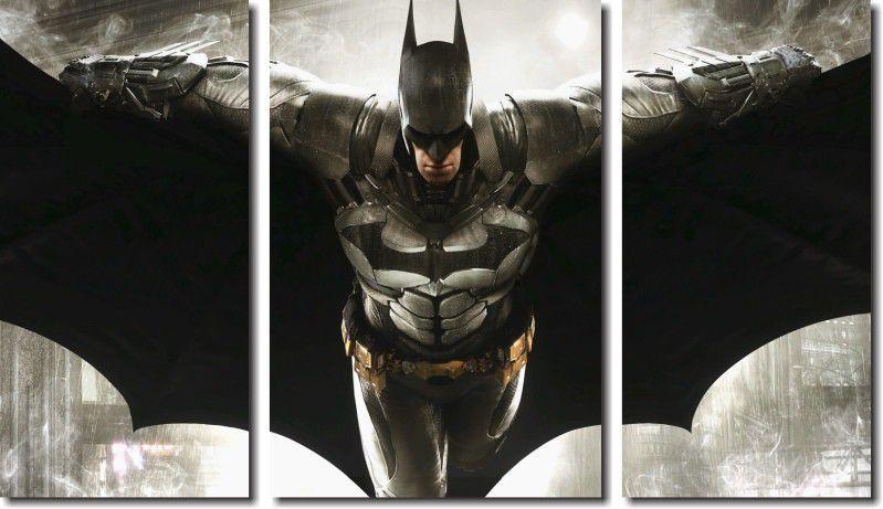 quadro decorativo filme batman vs arkham para quartos e salas 3 peças