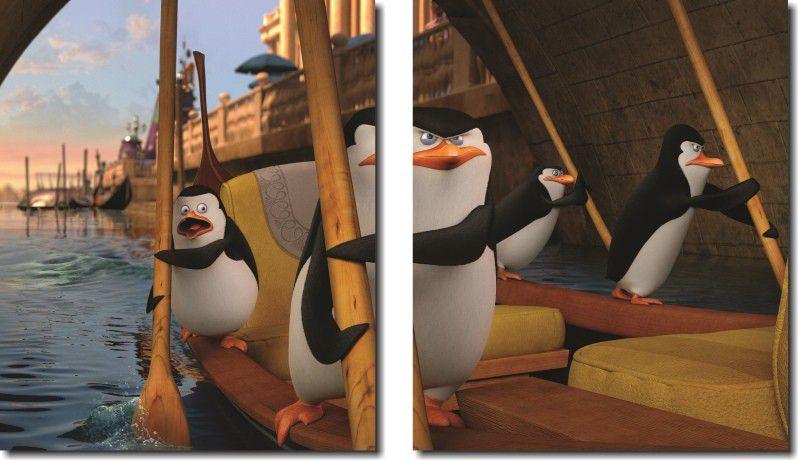 Quadro decorativo filme os pinguins de madagascar para quartos e salas 2 peças
