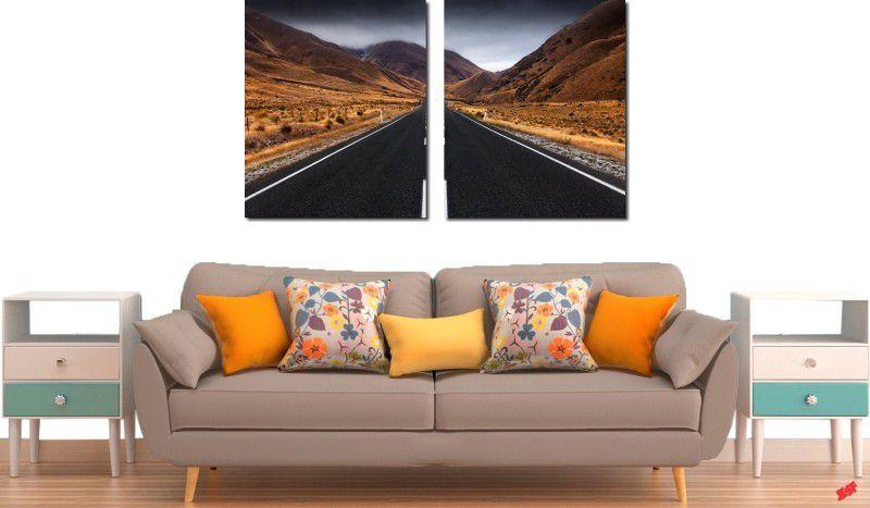 Quadro decorativo paisagem montanhas para quartos e salas 2 peças