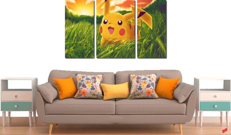 Quadro decorativo para quartos e salas pikachu 3 peças