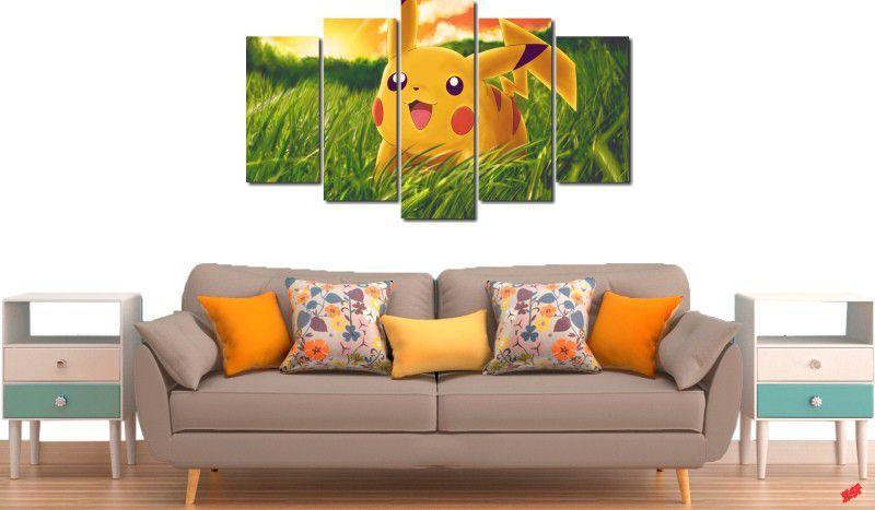 Quadro decorativo para quartos e salas pikachu 5 peças