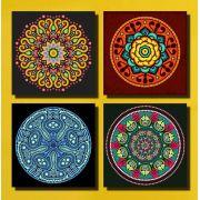 Kit 4 Quadros Decorativo Mandala  Para Sala