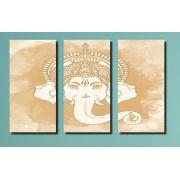 Quadro Decorativo India Deus Ganesh  3 Peças Bege Para sala