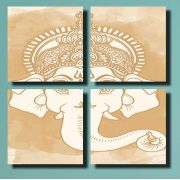 Quadros Decorativos  Deus India Ganesh Bege 4 Peças Para Sala