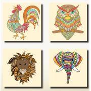 Quadros Decorativos Desenhos Animais Colorido 4 Peças Para Sala