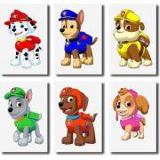 Kit 6 Quadros Decorativos  Desenho Infatil Patrulha Canina