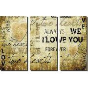 Quadro Decorativo Frases De Amor I Love You 3 Peças