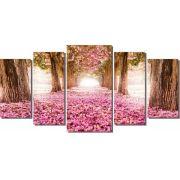 Quadro decorativo caminho com ipê rosa florido