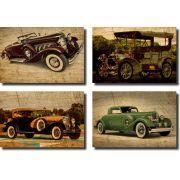 Kit Quadros Decorativos Carros Vintage   4 Peças Para Sala/Quarto M1