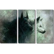 Quadro Decorativo Animal Lobos Alcateia 3 Peças para Sala