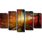 Quadro Decorativo Floresta Laranjada Varias Peças