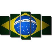Quadro Decorativo Bandeira Nacional do Brasil Varias Peças
