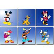 Kit Quadros 6 peças do Mickey Mouse e sua Turma 30x30