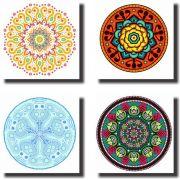 Kit 4 Quadros Decorativo canvas Mandala Fundo Branco