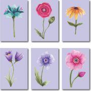Quadros Decorativos Kit 6 Peças Flores Coloridas