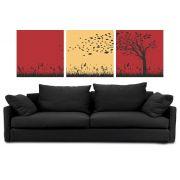 Kit 3 Quadros Árvores  seca Moderno Decorativo