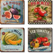 Kit Cozinha Decorativo 4 Peças  Frutas e Legumes Vintage