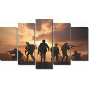 Quadro Decorativo Soldados  Entardecer do Sol 5 peças