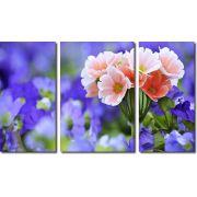 quadro decorativo flores roxas para sala 3 peças
