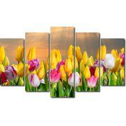 Quadro Decorativo Flores Tulipa Coloridas 5 peças