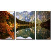 Quadros Decorativos Paisagem Lago Com Montanha 3 Peças