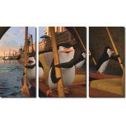 Quadro decorativo filme os pinguins de madagascar para quartos e salas 3 peças