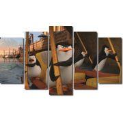 Quadro decorativo filme os pinguins de madagascar para quartos e salas 5 peças