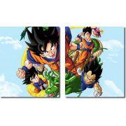 Quadro Decorativo Dragon Ball  Z Goku Super Sayajin  2 peças m8