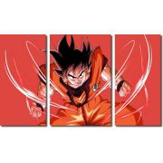 Quadro Decorativo Dragon Ball  Z Goku Super Sayajin  3 peças m9