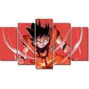Quadro Decorativo Dragon Ball  Z Goku Super Sayajin  5 peças m9