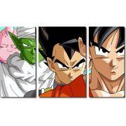 Quadro Decorativo Dragon Ball  Z Goku Super Sayajin  3 peças m11