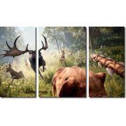 Quadro decorativo para quartos e salas paisagem animais 3 peças