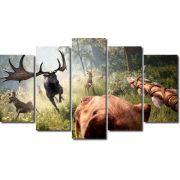 Quadro decorativo para quartos e salas paisagem animais 5 peças