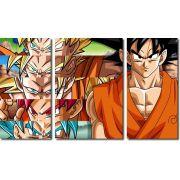 Quadro Decorativo Dragon Ball  Z Goku Super Sayajin  3 peças m13