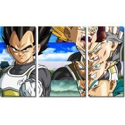 Quadro Decorativo Dragon Ball  Z Goku Super Sayajin  3 peças m14