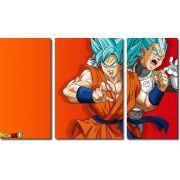 Quadro Decorativo Dragon Ball  Z Goku Super Sayajin  3 peças m15
