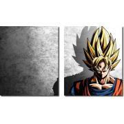 Quadro Decorativo Dragon Ball  Z Goku Super Sayajin  2 peças m16