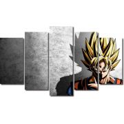 Quadro Decorativo Dragon Ball  Z Goku Super Sayajin  5 peças m16