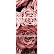3 Quadros Decorativos Flores Rosa  nude 240x100
