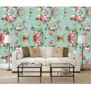 papel parede floral  rosas com fundo turquesa