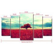 Quadro Decorativo Árvore vermelha  5 peças