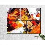 4 Quadros Decorativos Abstrato Folha Colorido