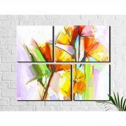 4 Quadros Decorativos  Flores Abstratas Coloridas