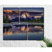 4 Quadros Decorativos Paisagem Montanha Lago