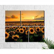 Kit 4 Quadros Decorativos Plantação de Girassol no Por do Sol