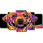 Quadro Decorativo Cachorro Pop Arte 5 Peças