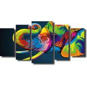 Quadro Decorativo Elefante Arte Moderna Para Sala 5 Peças