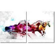 Quadro Decorativo Cavalo Branco Colorido Para Sala 2 Peças