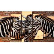 Quadro Decorativo Paisagem Zebra 5 Peças